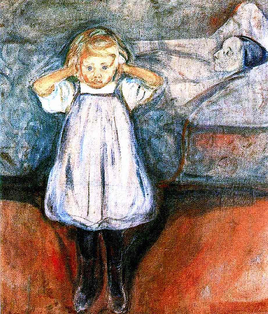 Edvard Munch 1899 The Dead Mother, an orphaned child panics