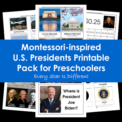 U.S. Presidents Printable Pack for Preschoolers