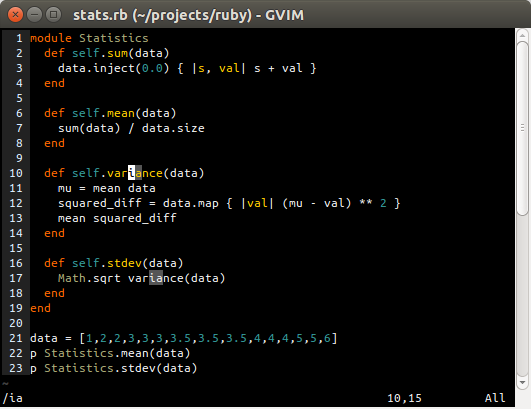 Search for 'ia' in gvim