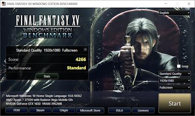Benchmarking ASUS TUF Gaming FX505D dengan Final Fantasy XV dengan kualitas Standard dan kondisi charging