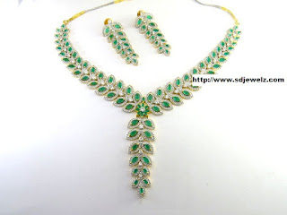 Green Stone Studded Cubic Zirconia Necklace Set