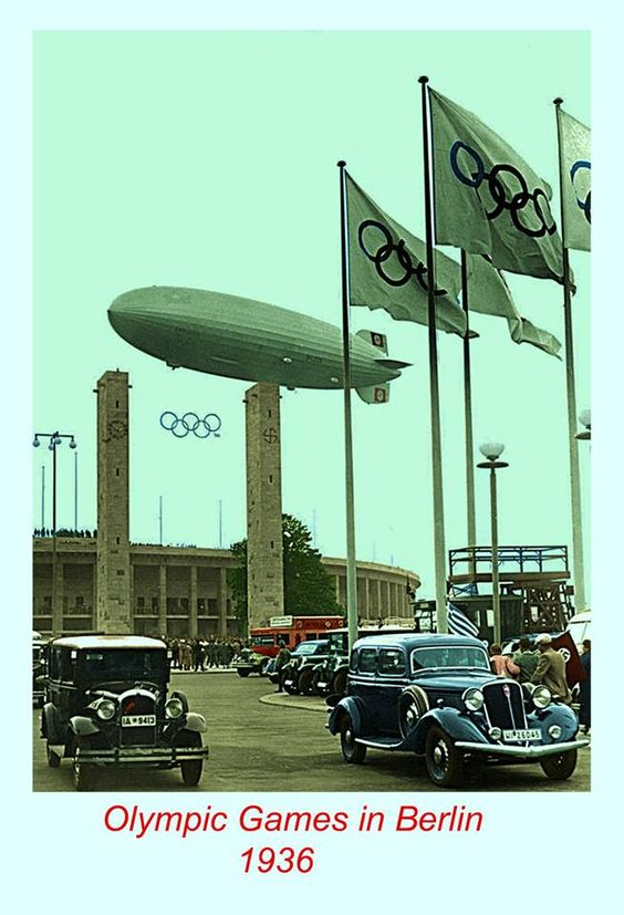 The Hindenburg flies over the Olympiastadion in Berlin color photos of World War II worldwartwo.filminspector.com