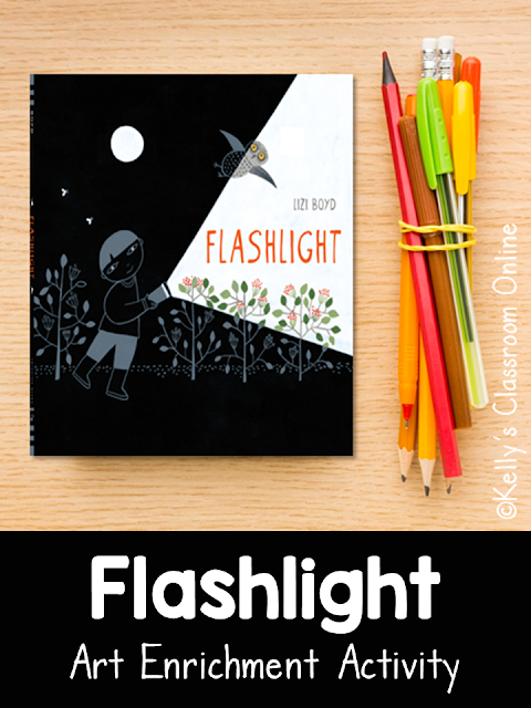 Art enrichment activity. Create a nighttime scene inspired by the wordless book Flashlight by Lizi Boyd. Camping theme. Story elements. Illustrations.