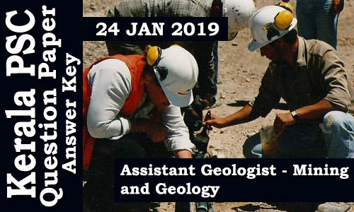 Assistant Geologist Mining & Geology Question Paper & Answer key