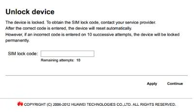 Huawei Unlock code interface MobileWifi Device