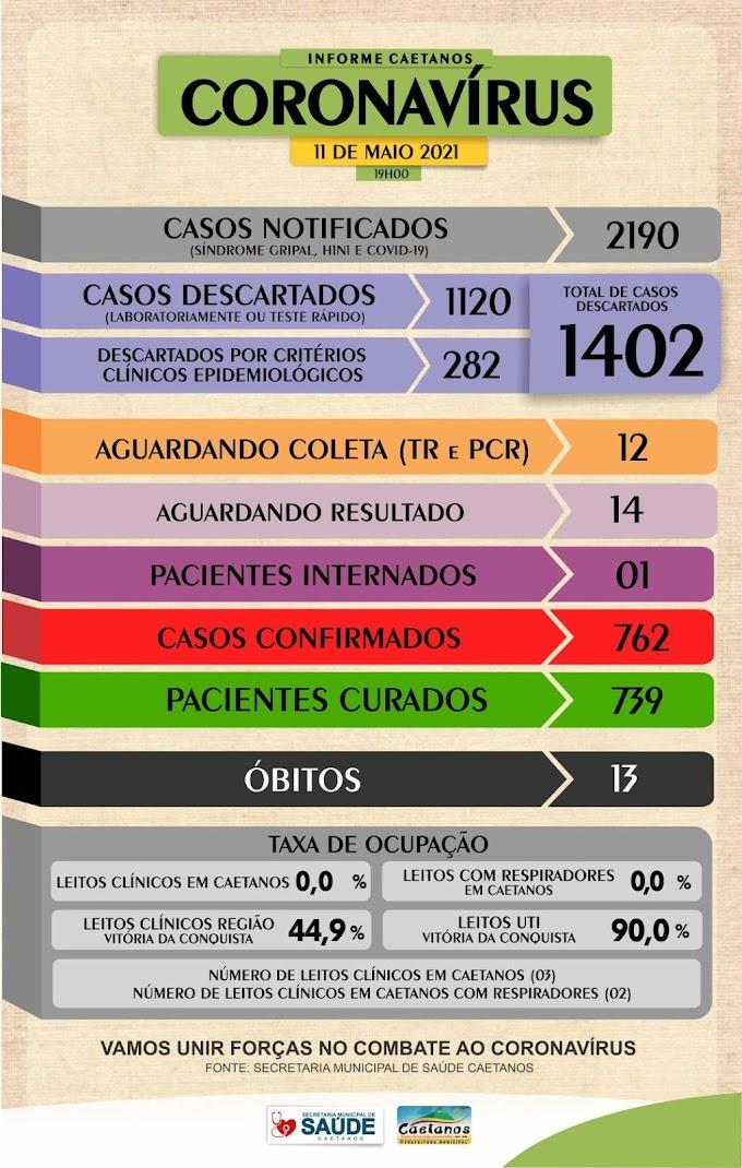 CAETANOS: BOLETIM CORONAVÍRUS / CAETANOS 11/05/2021 –