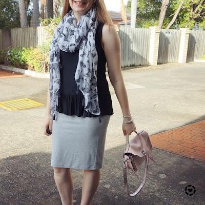 awayfromtheblue instagram | monochrome pencil skirt converse peplum tank bird print scarf outfit with pastel pink RM darren bag