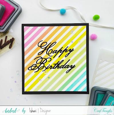 Craftangles stripes stencil,  diagonal stripes stencil card,  stenciled card,  card with stencils, quillish, cards by Ishani,  hndmd blog, distress oxide blending