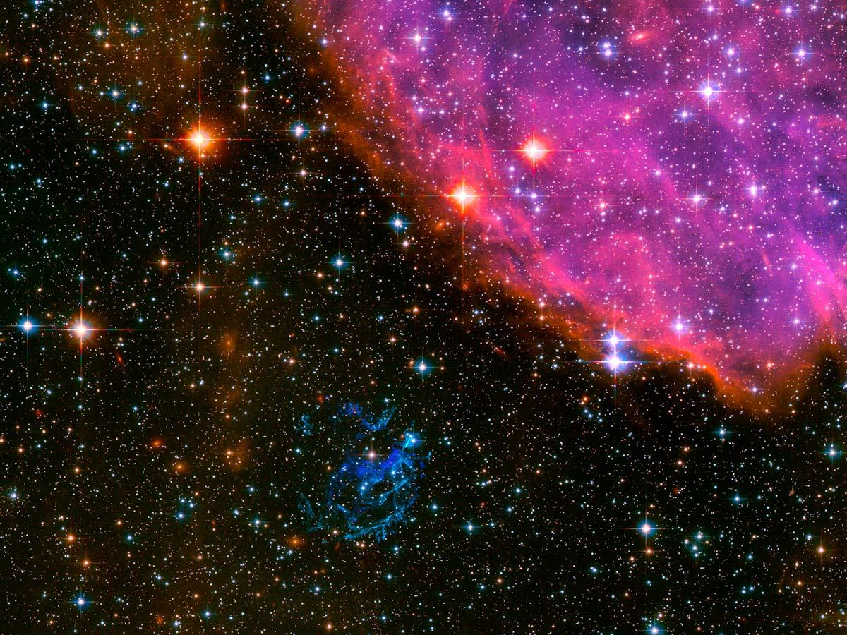 Visão distante do Hubble de uma remanescente de supernova
