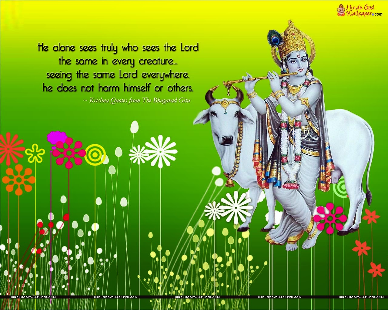 Hindu God Wallpapers: Lord Krishna With Cow Wallpapers
