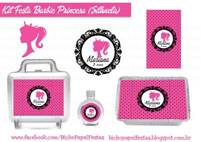 Kit Festa Barbie Princesa Silhueta preto pink