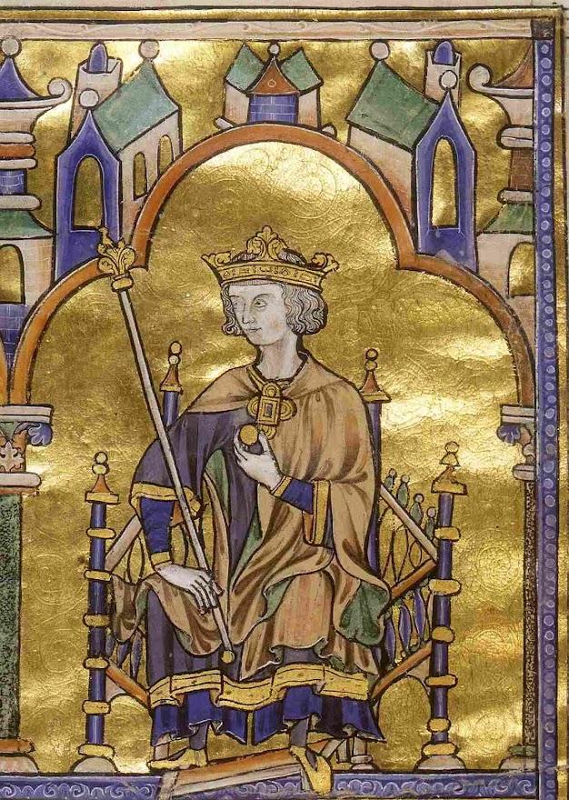 São Luís rei da França, miniatura contemporânea na Biblia de Toledo, dita Bíblia de São Luis, c. 1230, The Morgan Library & Museum, New York