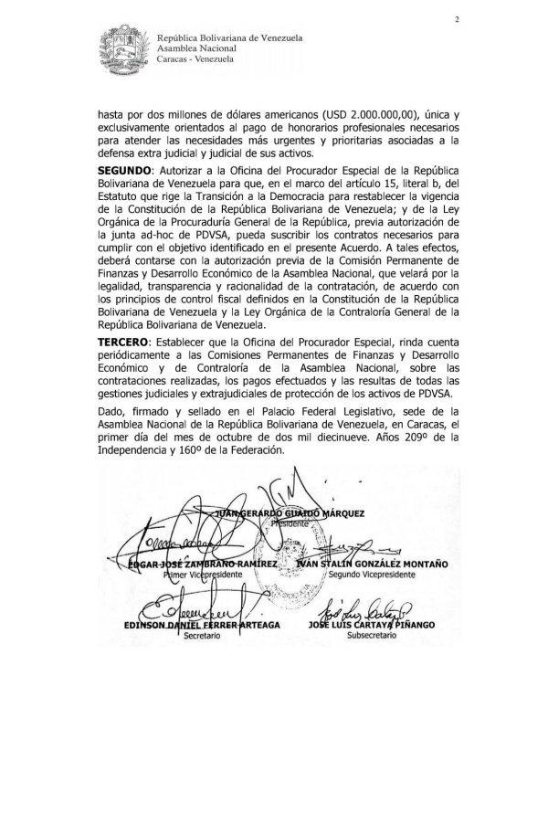 AN autoriza usar recursos de Pdvsa para defender sus activos en el extranjero