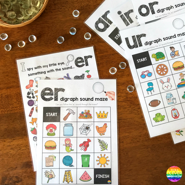 Printable Digraph Activities for all the controlled 'R' sounds - sound mazes in colour and black and white plus I Spy game | you clever monkey