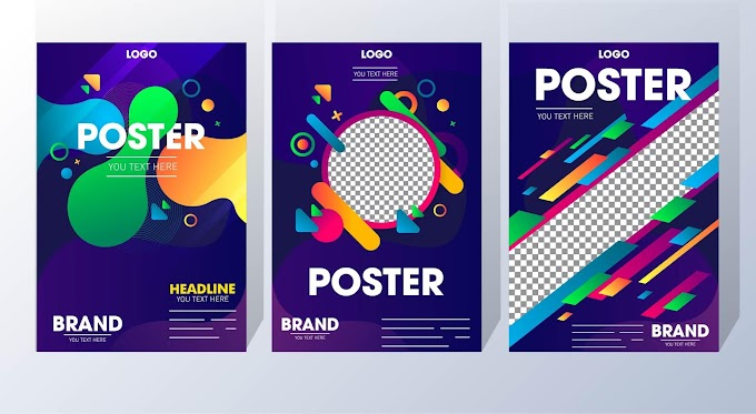 Corporate poster templates colorful modern geometric decor Free vector
