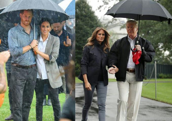 """A tale of two umbrellas"" - Vanity Fair magazine compares Prince Harry's umbrella etiquette to Donald's Trump's"