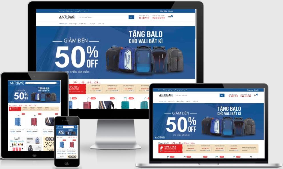 Template blogspot bán hàng balo túi xách mới 2021