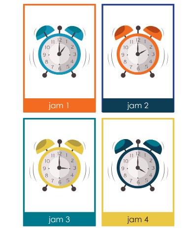 Kartu Mengenal Waktu Dan Jam PAUD