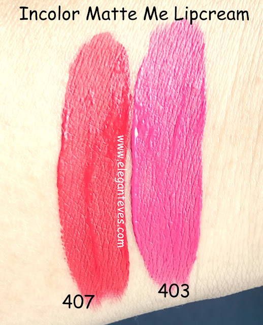 incolor matte me lipcream 403 407 swatches india
