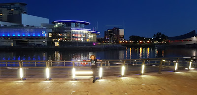 media city view over manchester shipping canal at night