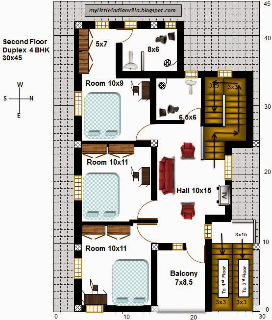 My little indian villa 21 r14 1bhk and 4bhk in 30x45 for 2 bhk house plans 30x40