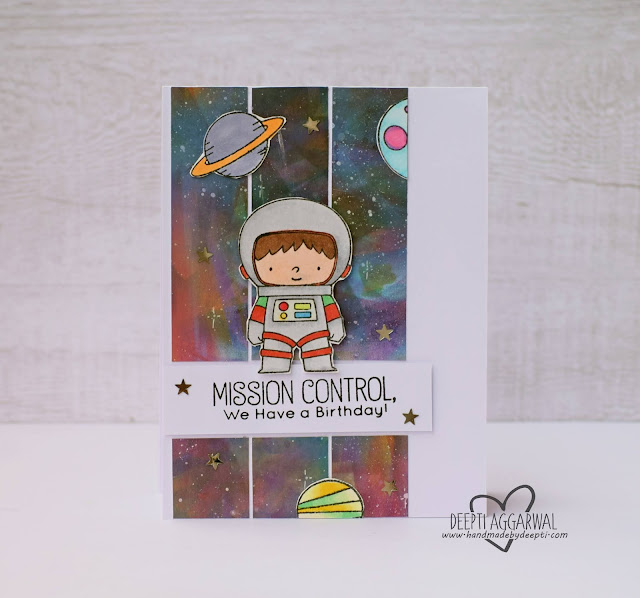 Galaxy theme birthday card  MFT stamps
