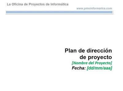 Plan de direccion de proyectos plantilla