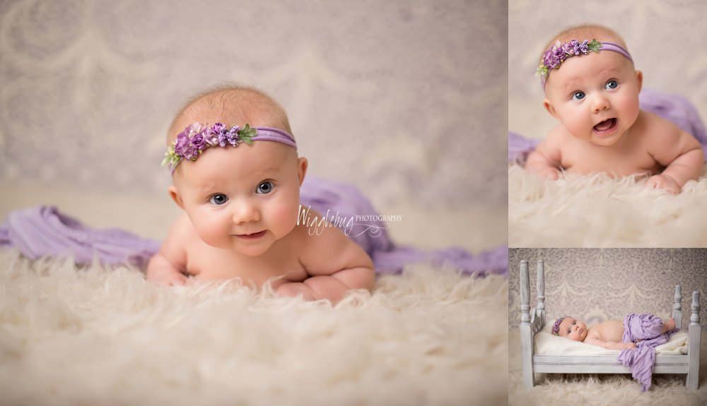 baby girl 4 month Heads up; baby plan milestone session in studio at Wigglebug Photography