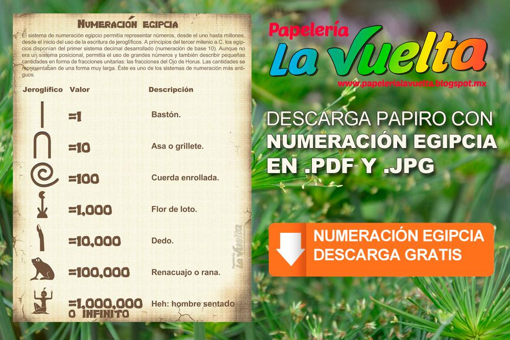 Papelería La Vuelta: Numeración egipcia en JPG y PDF (Gratis)