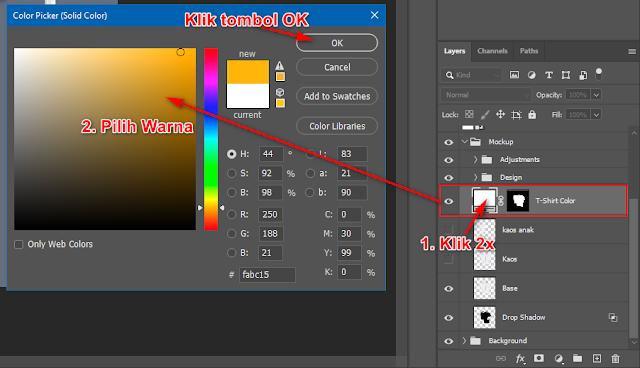 Cara mengganti warna kaos