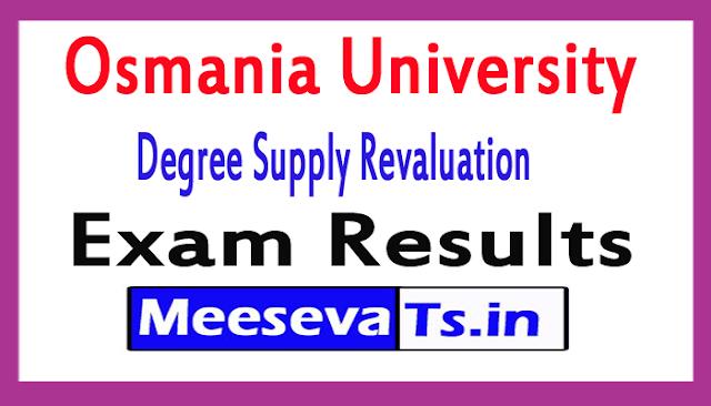 Osmania University Degree Supply Revaluation Exam Results