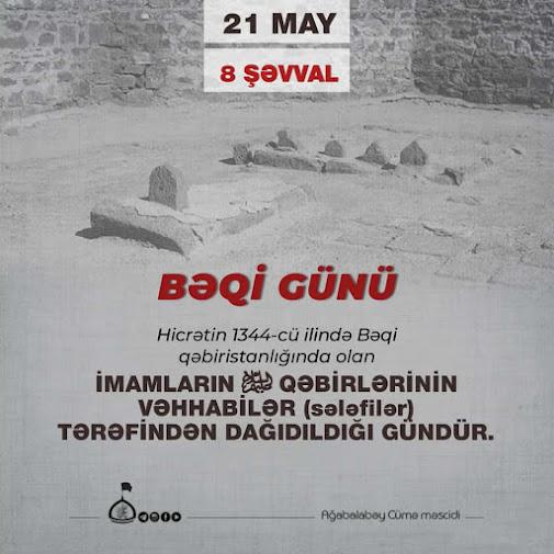 İmamların dəfn edildiyi Bəqi məzarlığının dağıdılmasından 98 il ötür