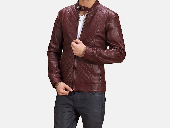 Rumano Jae Maroon Leather Biker Jacket