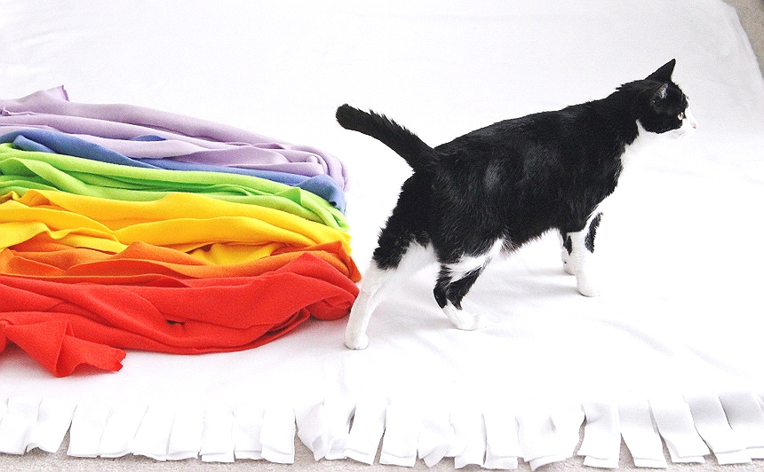No-sew unicorn blanket.