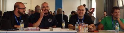 Roberto Alhambra, Gonzalo Zalaya, Pablo Bueno y Arkaitz León en el taller