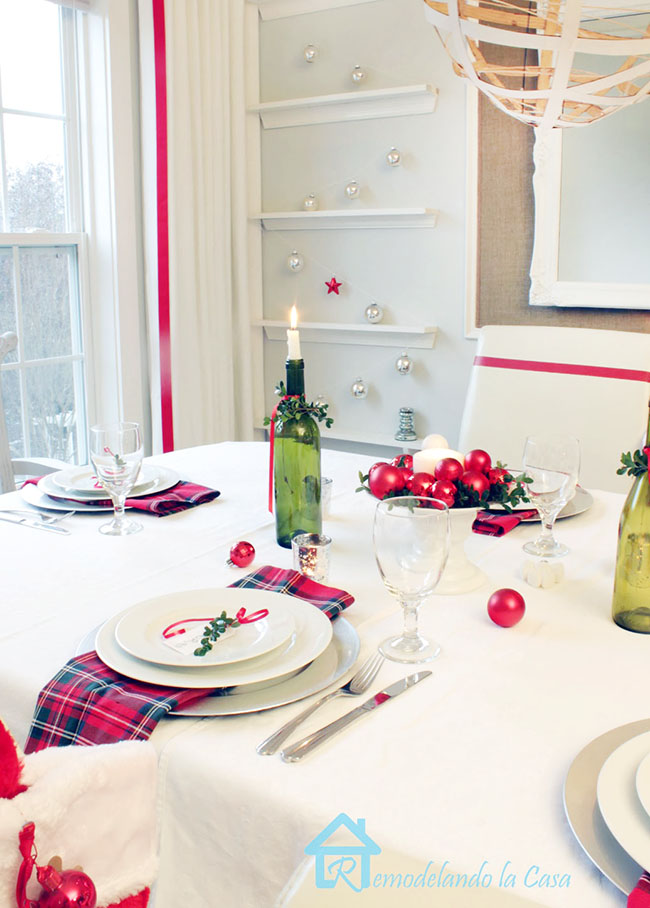 dining room table set for Christmas
