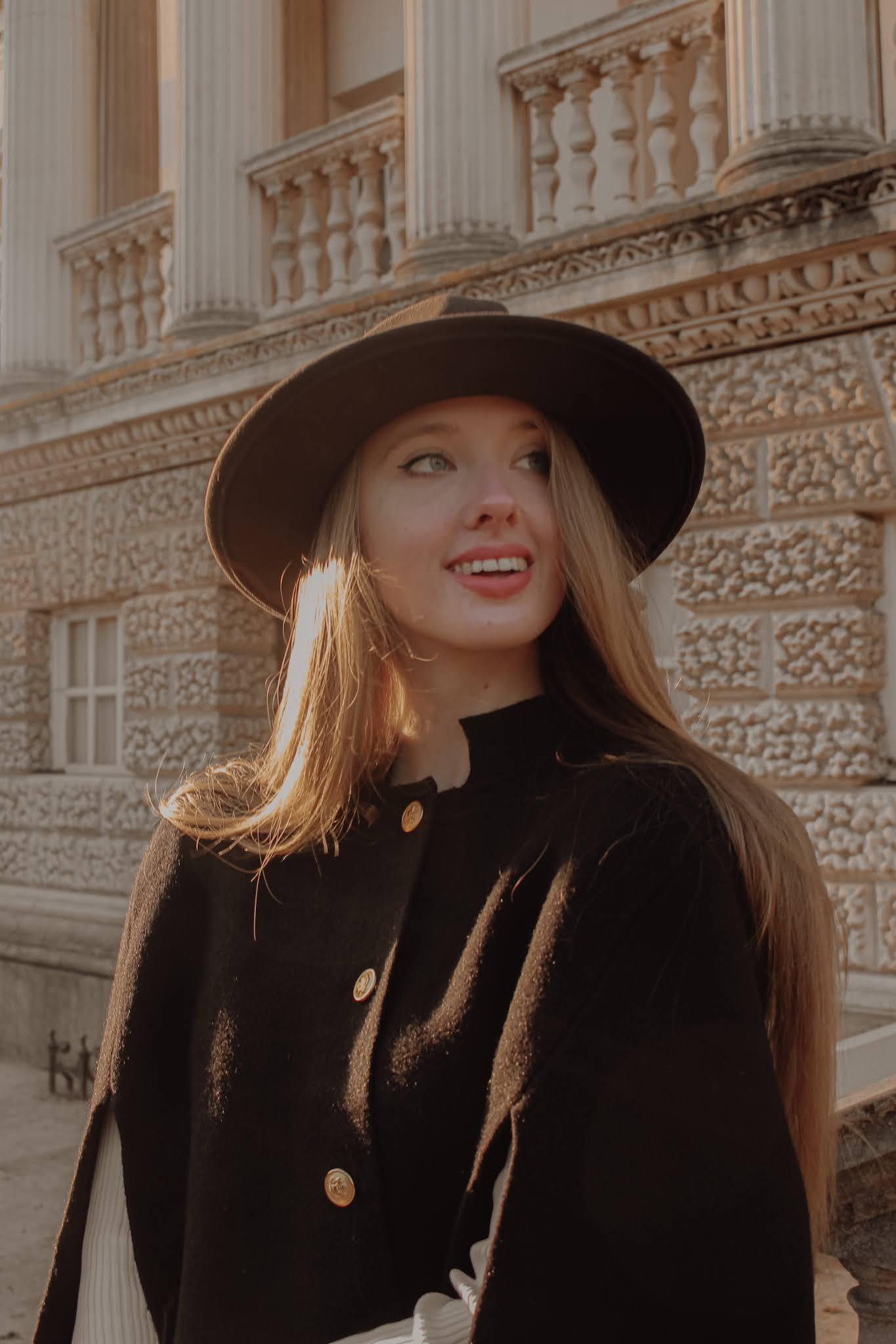Moda in Pelle Jessica Black Fabric Cape