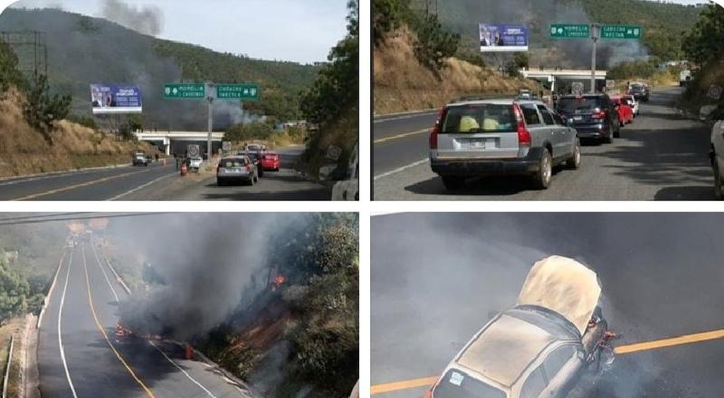 """Reportan quema de Vehículos en Uruapan; Michoacán tras captura del jefe de plaza de los Viagras Luis Felipe Barragan """"El Bocho"""""""