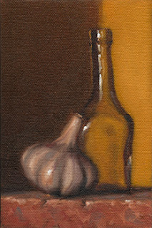 Still life oil painting of a garlic bulb beside a small glass bottle.
