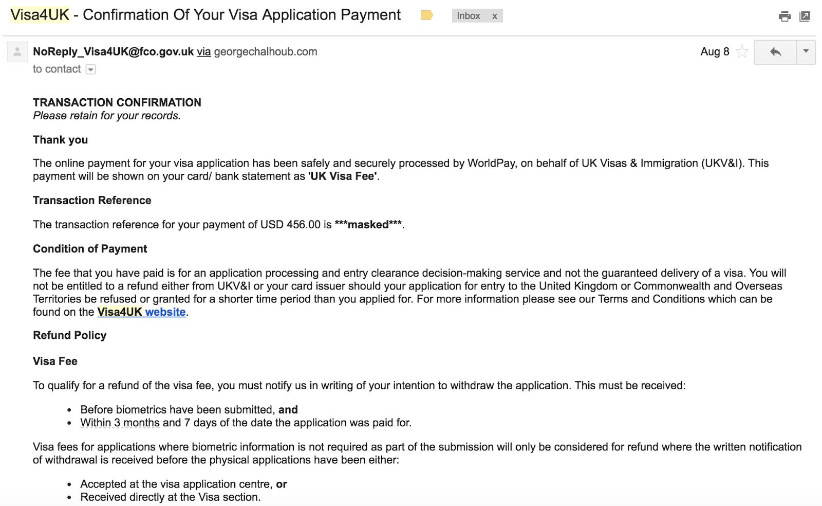 uk visa application from usa fee