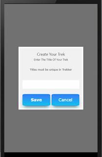 Sample trek creation screen