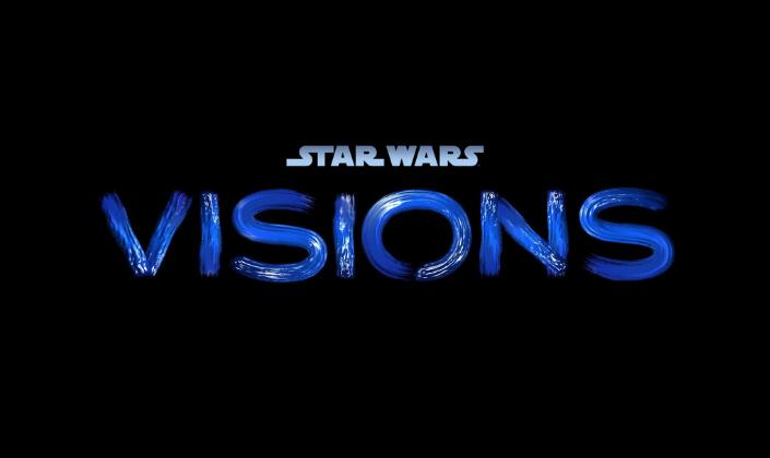 Imagem de capa: fundo preto com o logo de Star Wrs em azul claro e abaixo o título Visions como que pintado em tinta.