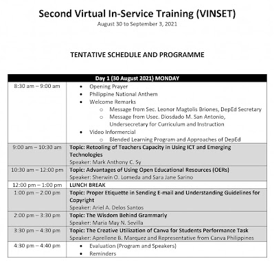 DAY 1 SESSION DEPED SECOND VIRTUAL INSET   TOPICS & SPEAKERS   AUGUST 30, 2021