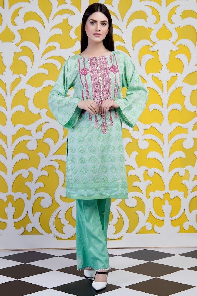 Warda Green printed shirt Lawn Embroidered