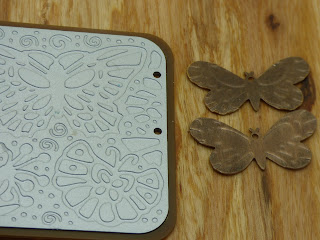 Vintaj Embossing plates and embossed butterflies