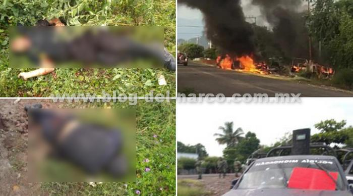 Fotos; Sicarios del CJNG emboscan brutalmente a Policías en Michoacán y dejan Narcomensaje