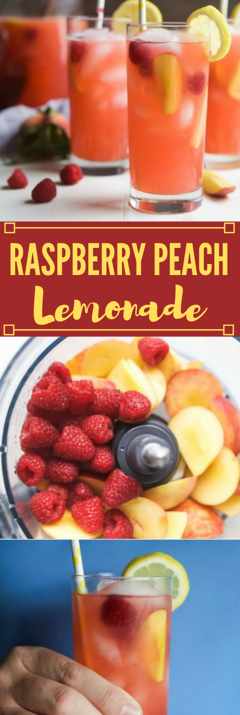 Homemade Raspberry Peach Lemonade #drink #lemonade #raspberry #homemade #sangria