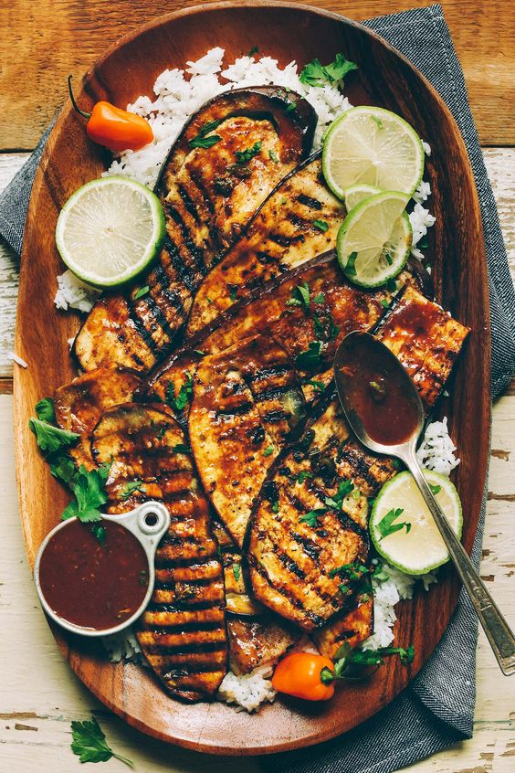 Spicy Jamaican jerk spiced grilled eggplant! Ready in 30 minutes, incredibly flavorful, and the perfect plant-based side dish!