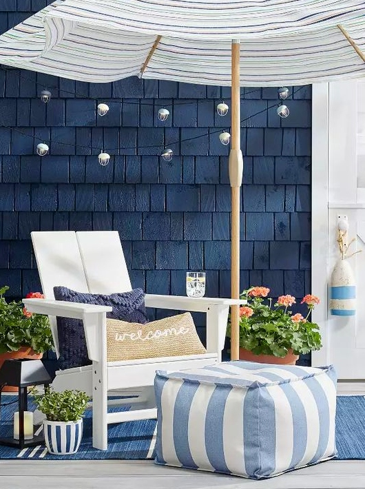 Coastal Nautical Patio Decor Collection in Blue & White ... on Nautical Patio Ideas id=50444