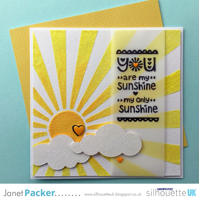 "Make re-usable stencils and masks with the Silhouette Stencil Material (non-adhesive). Demonstration project is a bright ""You are my sunshine"", Designed by Janet Packer (Crafting Quine) for the Silhouette UK Blog."